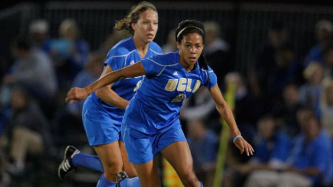 Lauren Cheney and Sydney Leroux, UCLA teammates. (Jeff Sipsey/UCLA)