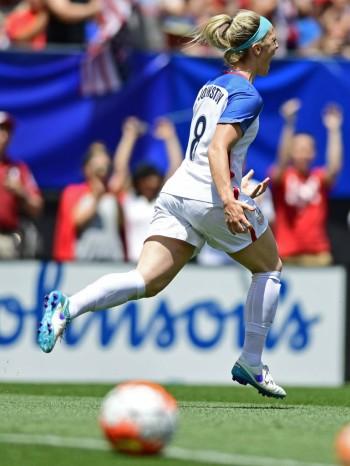 Julie Johnston after scoring the first of two U.S. goals against Japan, June 5, 2016. (David Dermer/AP)